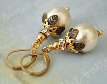 PEARL DROP EARRINGS  vintage Swarovski creamrose  glass pearl earrings