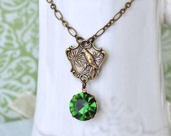EDEN antiqued brass songbird necklace with Swarovski green Turmaline glass jewel