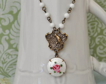 EDEN antiqued brass song bird necklace withvintage Guilloche enamel  red rose cab