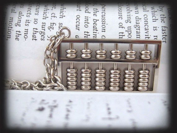 CHINESE ABACUS, silver abacus charm necklace with movable beads
