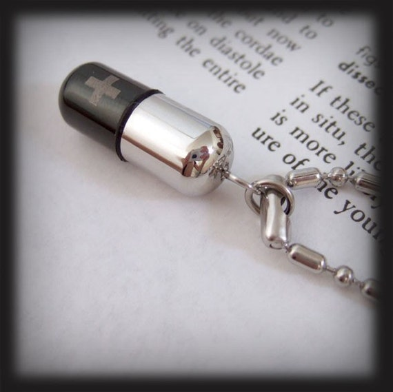 Taking Your Pills Today. Perfume bottle container necklace