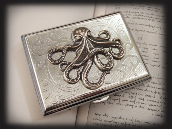 SILVER OCTOPUS silver case for business card case and accessories