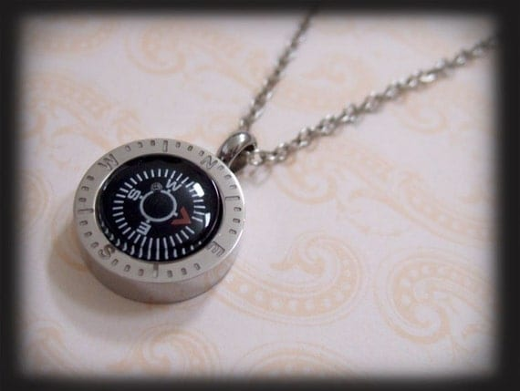Point Me To The Right Direction, stainless steel working compass necklace