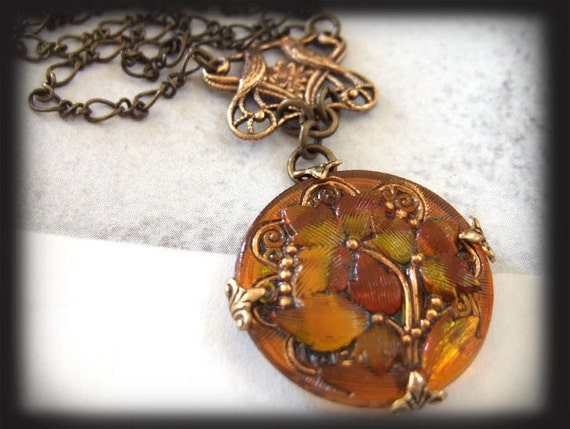 LOVE BIRDS, antique brass necklace with floral glass button