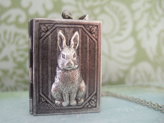The tale of Peter Rabbit, silver bunny book style locket necklace