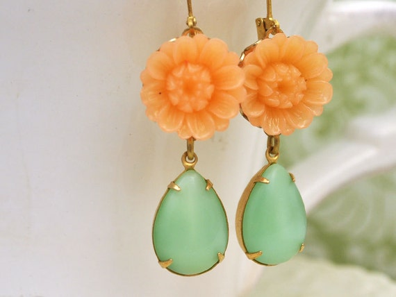 THE SUNFLOWER vintage light pink resin cab earrings with vintage glass moon glow light green glass jewels