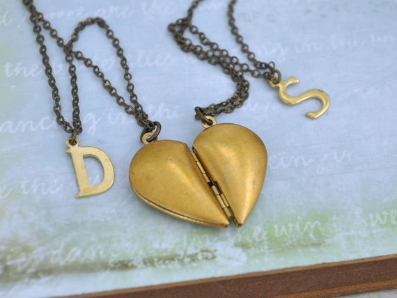YOU COMPLETE ME raw brass heart shaped locket set with personal initials