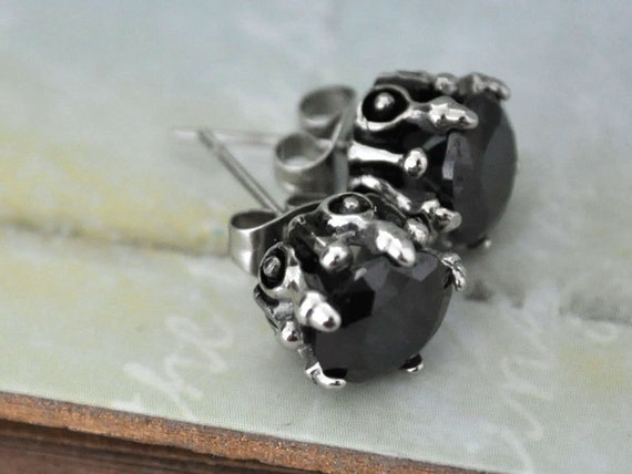 The Dark Fairy Tale, petite Gothic style surgical steel stud earrings with jet black  glass jewels