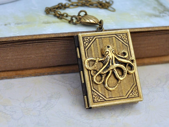 brass sea creature necklace, antiqued brass locket necklace OCTOPUS book style locket necklace in antiqued brass