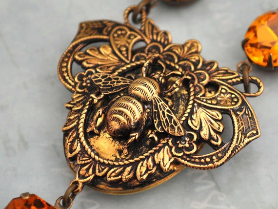 THE QUEEN BEE,  Victorian style brass bee locket necklace with vintage topaz glass jewels
