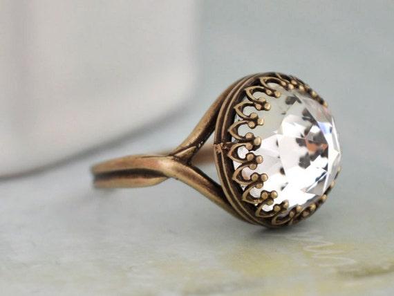 VINTAGE SPARKLES antiqued brass ring with vintage  Swarovski crystal cab