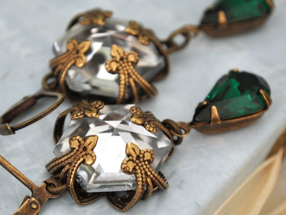 VINTAGE SPARKLE antiqued brass filigree wrapped glass crystal earrings with Swarovski emerald green jewels