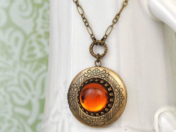 vintage topaz color glass cab locket necklace - HONEY - antiqued brass pendant locket necklace