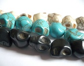 BULK SALE Small skulls in off white, black and turquoise - 8+ beads 12mm x 11mm