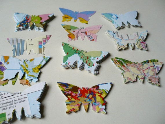 80 Butterfly die cuts / punches / embellishments from vintage map for scrapbookig, up-cycled atlas