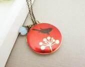 Bird on the flower - Altered Art Locket Necklace
