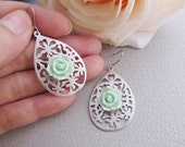 Oriental Rose - Matte rodium plated floral charms with sea foam rose flower cabochon Earrings