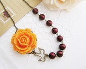 Tangerine Orange Rose Flower Cabochon and Maroon Glass Pearls with Antique Bronze Bird Charm Necklace . For Her
