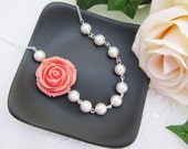 Coral Rose Flower Cabochon and Crystal White Swarovski Pearls Bridal Necklace