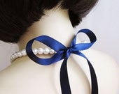 Design your own Sweet and Simple Crystal White Pearl and Ribbon Bridal Bridesmaid Necklace -11 Ribbon colors to choose