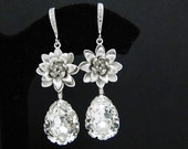 Bridal Earrings Bridesmaid Earrings Matte rodium flower with and Clear White Swarovski Crystal Tear drops