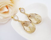Bridal Earrings Gold plated Cubic zirconia ear posts with (Huge) Golden Shadow Swarovski Crystal drops