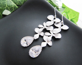 Matte Rodium Orchid Trio Dangle with Cubic Zirconia Tear Drops Bridal Bridesmaid Earrings