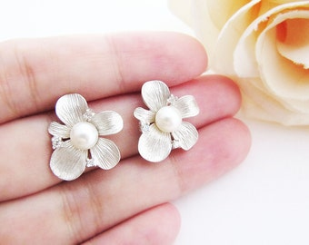 Bridal Earrings Bridesmaid Earrings - Beautiful Matte silver Flower with Cubic Zirconia Sterling Silver Ear posts and freshwater pearl