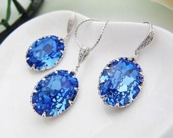 Wedding Bridal Jewelry Set Bridal Earrings Bridal Necklace Sapphire Swarovski Crystal Oval drops Bridal Jewelry Set