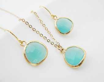 Wedding Bridesmaid Jewelry Bridesmaid Gift Bridesmaid Earrings Mint Opal Sea Foam Glass Matte Gold Trimmed Earrings