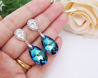 Something Blue Wedding Jewelry Bridesmaid Earrings Bermuda blue Swarovski Crystal drops