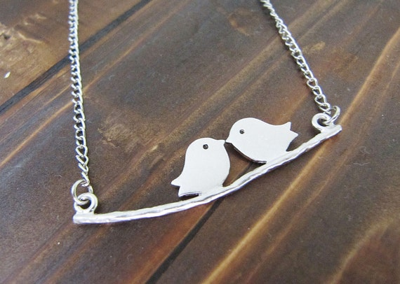 Love Birds - Matte White gold plated little sparrow birds on a branch Necklace