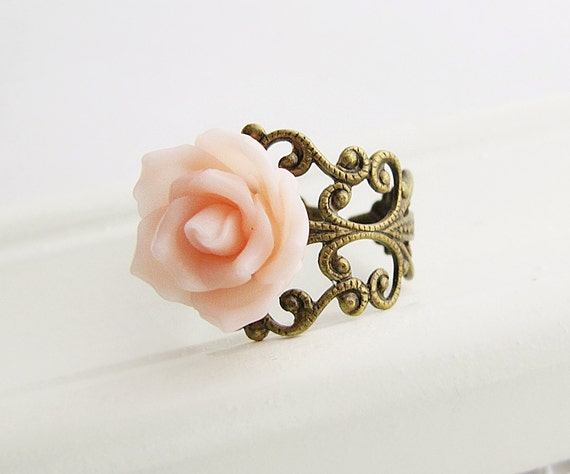 Romantic Pink Rose Flower Cabochon Victorian Style Ring