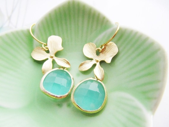 Matte Gold Orchid flower and Sea Foam Glass Drop Earrings