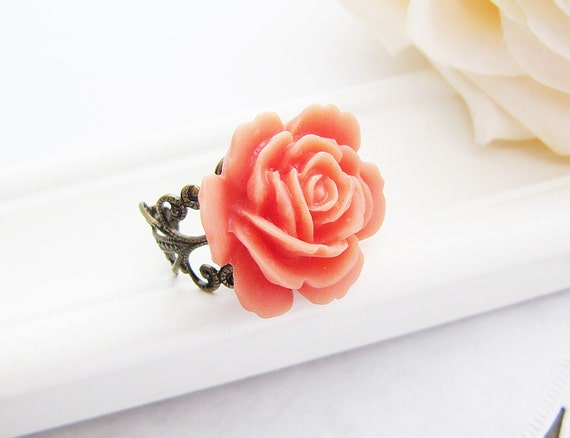 Dreamy Orange Rose Flower Cabochon Victorian Style Ring