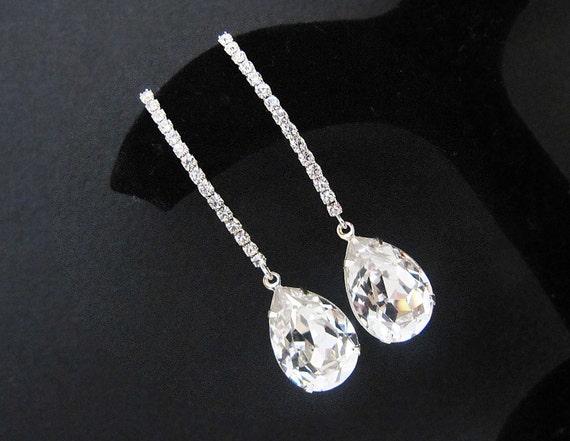 Bridal Earrings - Rodium rhinestones ear wires with Clear White Swarovski Crystal Tear drops