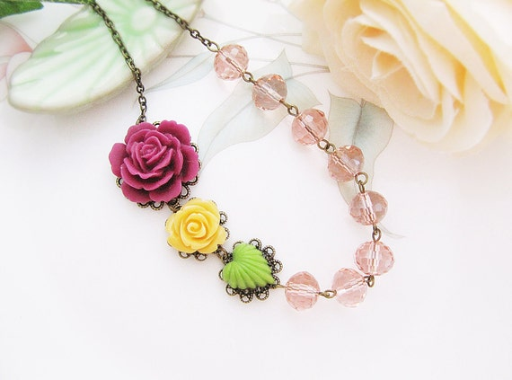 Colorful Flower Cabochons and Light Pink Glass Crystals Necklace. For Her. Gift for Her