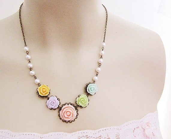 Bridal Necklace Bridesmaid Necklace - Rosey Garden - Colorful Rose Flower Cabochons and crystal white swarovski pearls