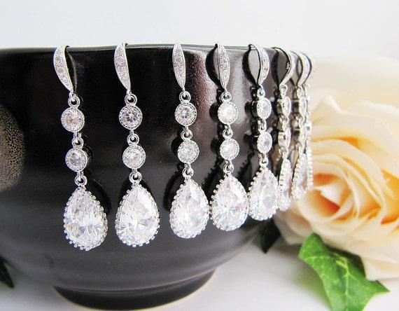 SET of 4 Wedding Jewelry Bridesmaid Jewelry Bridal Earrings Bridesmaid Earrings (M) cubic zirconia Crystal tear drops Earrings