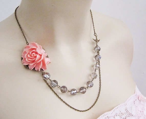 Elegance. Pink Rose Flower Cabochon, Antique Brass bird charm and Grey crystals Necklace
