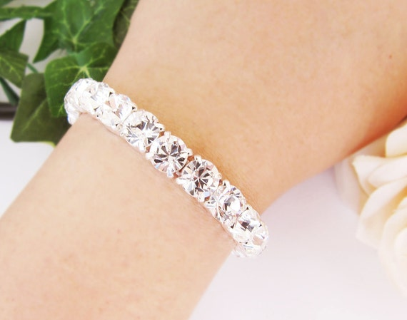Wedding Jewelry Bridal Bracelet Bridesmaid Bracelet Crystal White Swarovski XILION Chaton Sterling Silver Bracelet