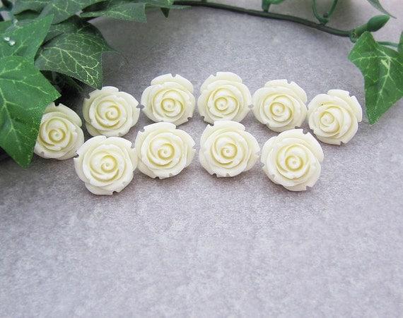 SET of 5 Bridal Earrings Bridesmaid Earrings (M) Cream White Rose Cabochon Ear posts . Bridesmaid Gift