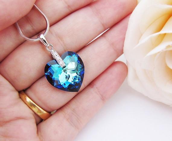 Wedding Bridesmaid Necklace Bridal Necklace Cubic zirconia bail with bermuda blue Heart Swarovski Crystal Necklace Bridesmaid Gift