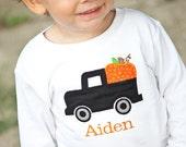 Fall Pumpkin and Truck Monogrammed Shirt or Onesie, Thanksgiving, Boys Fall Shirt, Pumpkin Shirt