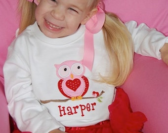 Girls Valentine's Day Shirt or Bodysuit, Owl, Personalized, Monogrammed