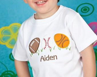 Boys Monogrammed Easter Shirt or Bodysuit, Sports Eggs, Boys Easter Shirt
