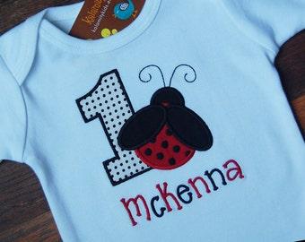 Ladybug Birthday Shirt or Onesie, Monogrammed, Any Number