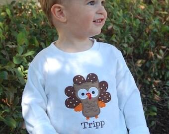 Monogrammed Thanksgiving Shirt: Turkey Owl