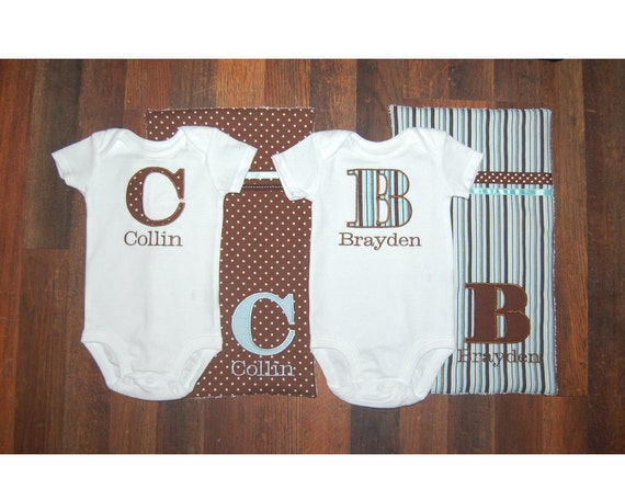 TWIN Boys Custom Monogrammed Onesie and Burp Cloth Set-Brown and Blue