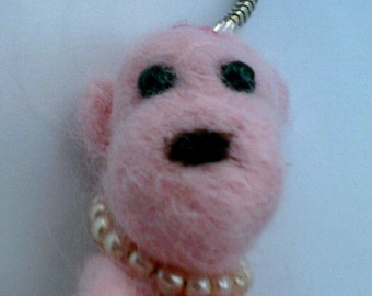 Needle Felted Mini Teddy Keychain/Key Ring By Pixie Doodles